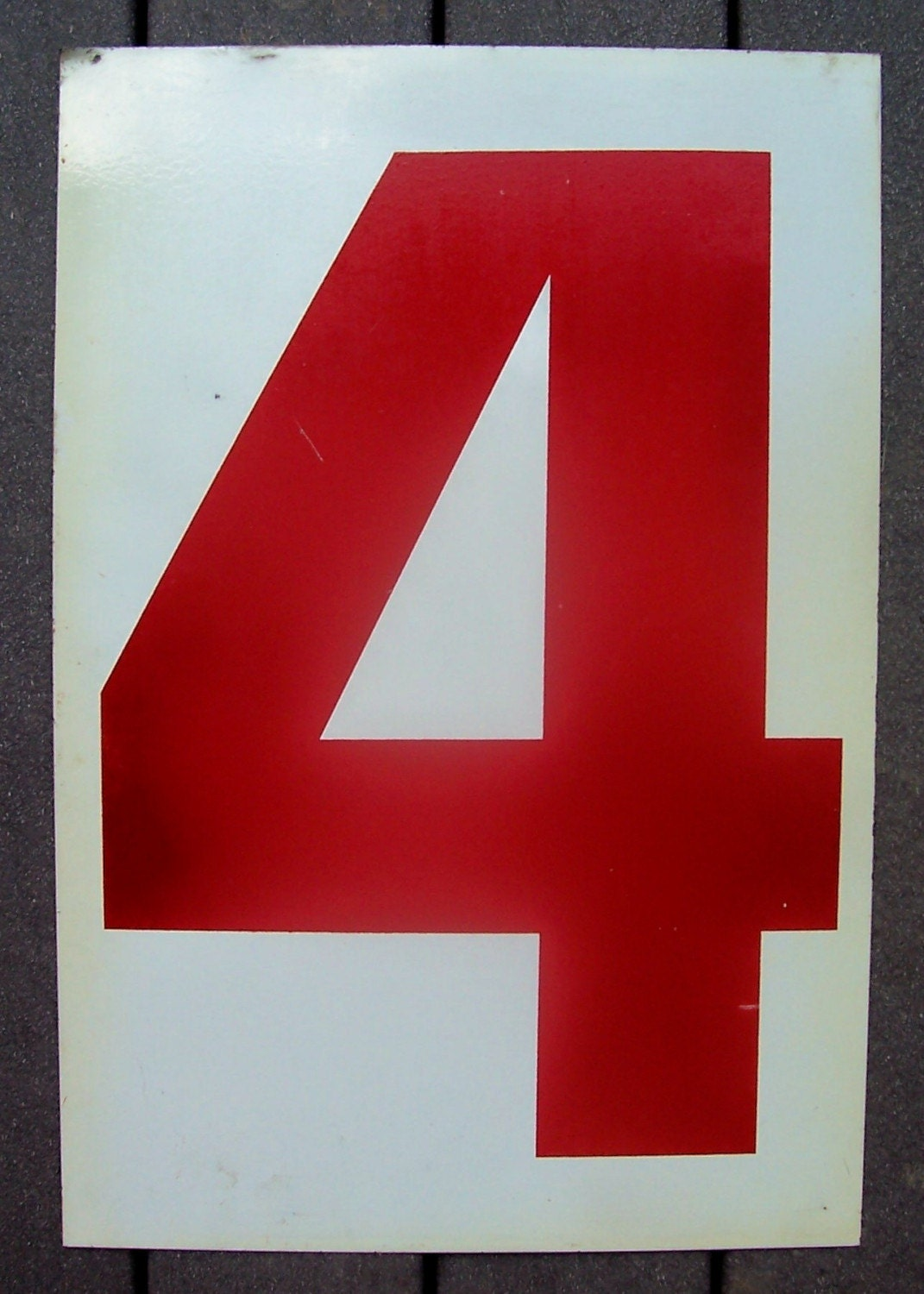 Large Vintage Red Scoreboard Number Two And Four By