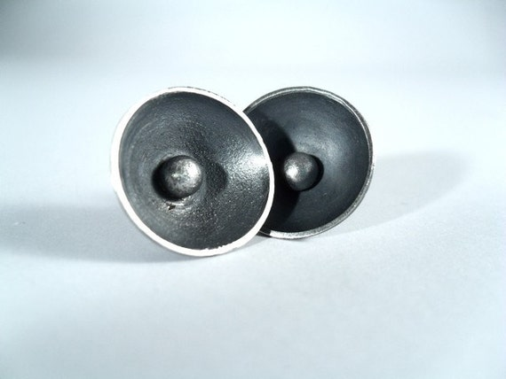 50% OFF Large Textured Black Sterling Silver Cup Post Earrings