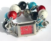 Changeable Watch Band Turquoise Red and Black