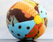 Get Unplugged with a Yellow Spot Ball - soft fleece ball in autumn colors blue and brown
