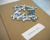 Recycled Puzzle Greeting Card - missing you