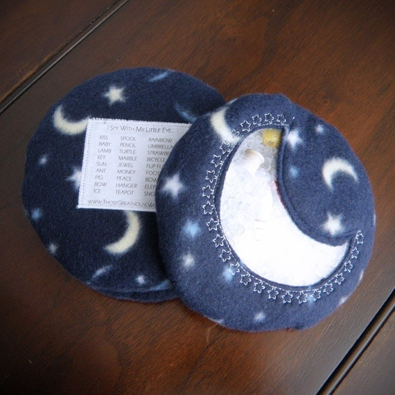 Moon I Spy Bag - celestial crescent moon with embroidered stars - a great gift to keep tired kids occupied in the car
