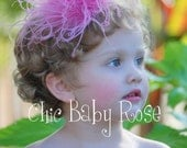 Curly Ostrich Feather Poof Clip or Band Available in 17 Colors by Chic Baby Rose