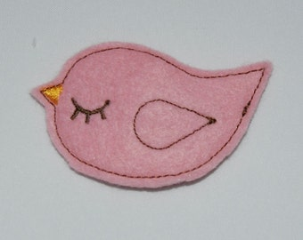 Pink Bird Wool Felt Clip by Chic Baby Rose