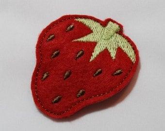 Wool Felt Strawberry Snap Clip by Chic Baby Rose