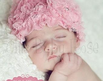 The Original Lace Ruffle Newborn Beanie by Chic Baby Rose