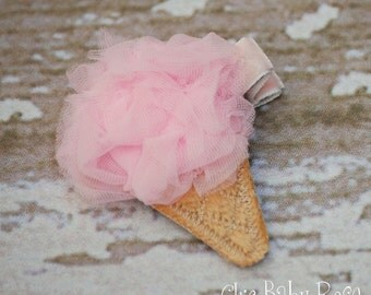 Tiny Fluffy Ice Cream Hair Clip by Chic Baby Rose in 21 Colors