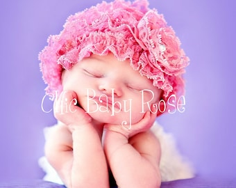 The Original Lace Ruffle Newborn Beanie by Chic Baby Rose