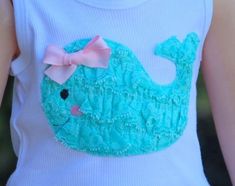 Petti Lace Ruffle Whale Tee Tank or Long Sleeve by Chic Baby Rose