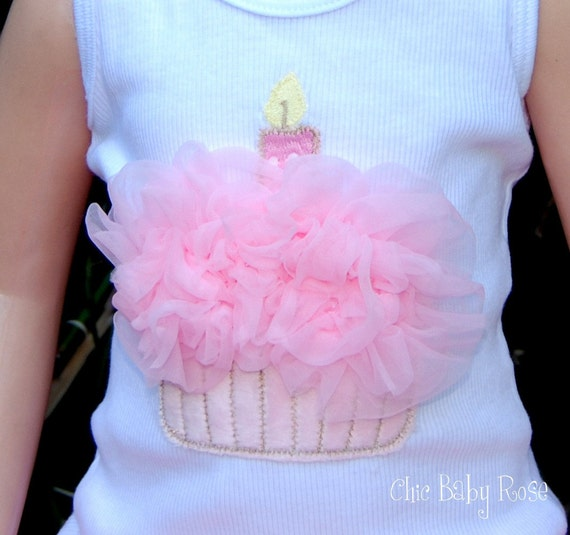 Fluffy Birthday Cupcake Shirt in a Tank, Tee or Long Sleeve by Chic Baby Rose