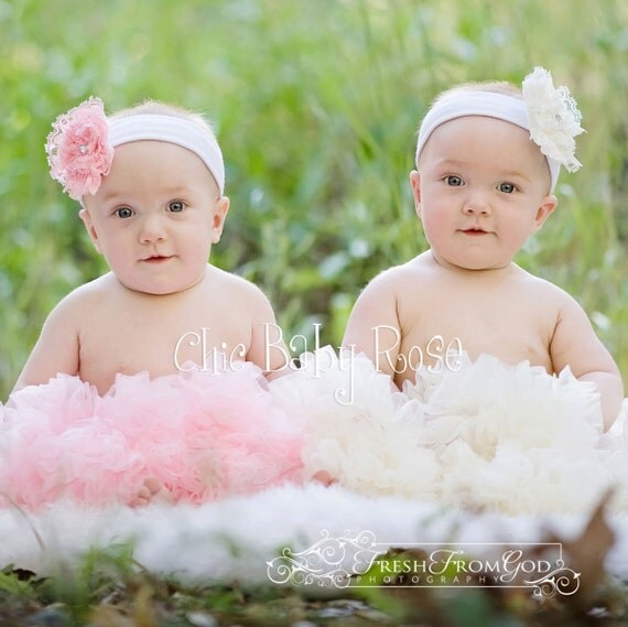 Pink or Cream Infant Newborn Single Layer Pettiskirt by Chic Baby Rose