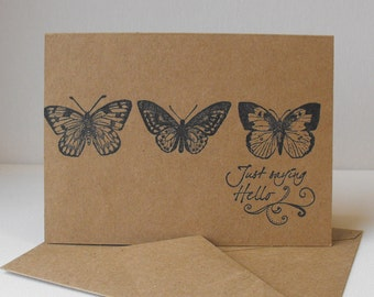 Butterfly Stationery Set Twelve Hand stamped Cards Twelve Sentiments Thinking of You Birthday Celebrate Best Wishes With Love Thank You