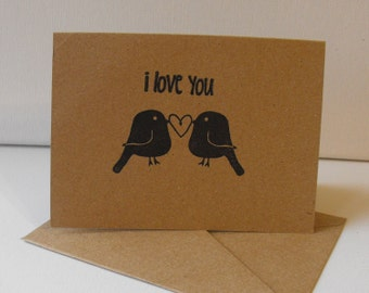 Love Birds Stationery  Set of 6 Hand stamped Blank inside Cards I Love You Valentine Anniversary