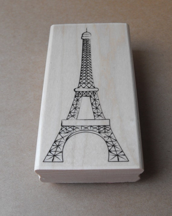 Eiffel Tower Stamp wood mounted From Paris with Love Valentine Romance NEW for card making or Scrapbooking