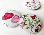 hand drawn button badges, pink nature set