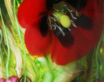 RED POPPY Garden Focal BEAD