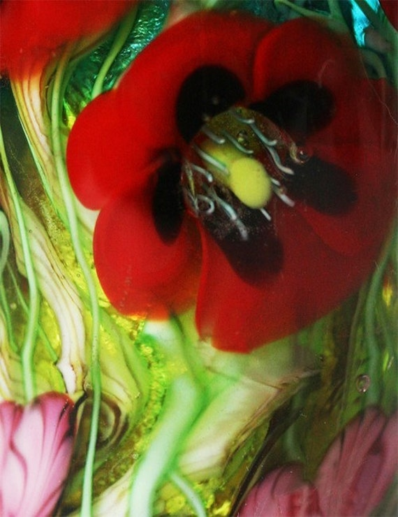 RED POPPY Garden Focal BEAD