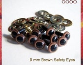 9mm Safety eyes Animals eyes Soft toys teddy bears eyes Plastic eyes BROWN - 5 PAIRS (9Br5)