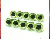 10.5mm PEARL GREEN animals eyes amigurumi eyes plastic eyes safety eyes - 5 PAIRS