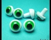 FROG wiggly googly google safety eyes 24 mm - 2 pairs green