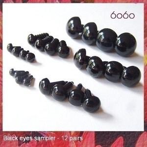 Plastic Eyes Craft Eyes Safety Eyes Black Sampler - 12 PAIRS 6 Sizes (SE3)