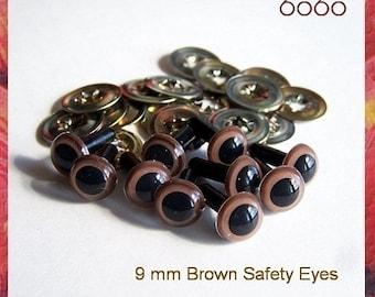 9mm Safety eyes Animals eyes Soft toys teddy bears eyes Plastic eyes BROWN - 5 PAIRS (9Br5)