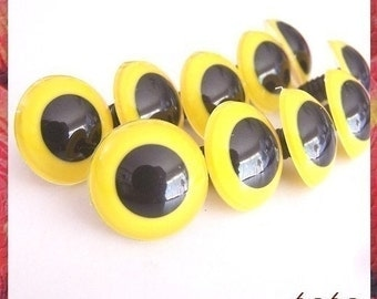 18 mm animal / amigurumi / big / YELLOW safety eyes - 5 pairs