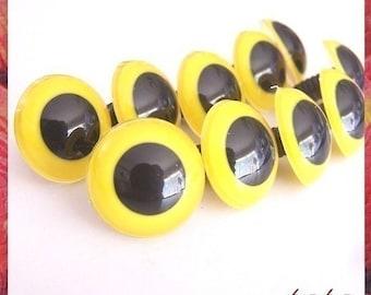 24 mm animal / amigurumi / big / YELLOW safety eyes - 5 pairs