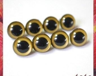 13.5mm GOLD Safety Eyes Plastic Eyes for Amigurumi Stuffed Animals - 4 PAIRS