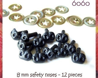 8 mm Black Animal Bear Safety Noses - 12 pieces (BN8)