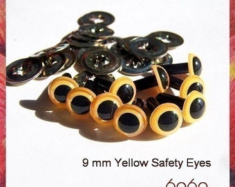 9mm Animals Amigurumi Plastic Safety Eyes 5 PAIRS - YELLOW