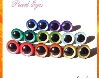 12 mm Hand Painted Safety Eyes Plastic Eyes Animal Eyes PEARL EYES - 8 PAIRS (12hp8)