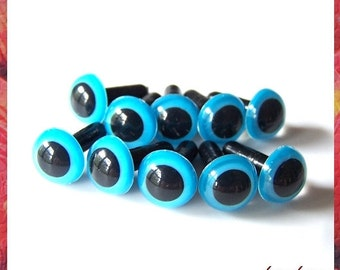 9mm Animals Amigurumi Plastic Safety Eyes 5 PAIRS - Blue