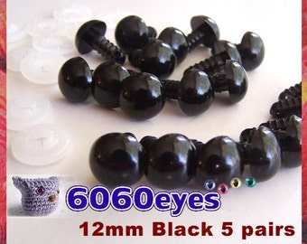 12 mm Safety Eyes Animal Eyes Plastic Eyes BLACK - 5 pairs (12B5)