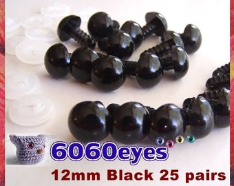 12 mm Safety Eyes Animal Eyes Plastic Eyes BLACK - 25 pairs (12B25)