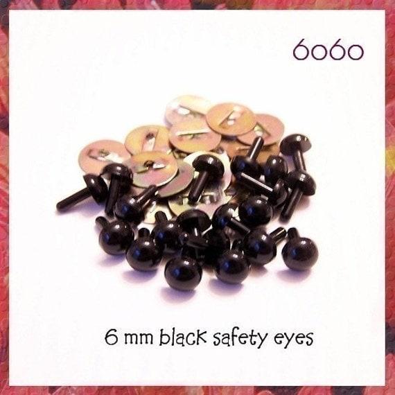 6 mm BLACK Plastic eyes amigurumi animal craft safety eyes