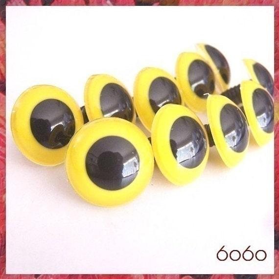 Craft Safety Eyes Amigurumi : 24 mm animal / amigurumi / big / YELLOW safety eyes 5 pairs