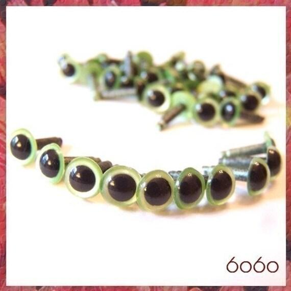 6 mm PEARL GREEN Amigurumi / Animal / Plastic Safety eyes - 10PAIRS