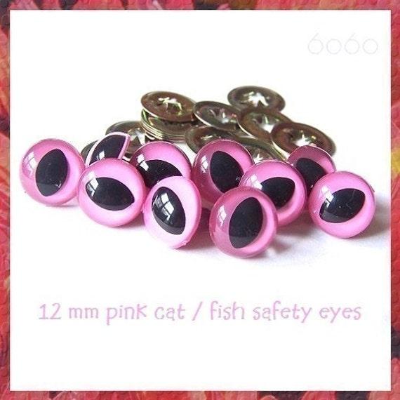 12 mm PINK Cat / Fish Eyes for Amigurumi eyes Plastic eyes - 5 PAIRS (12PC)