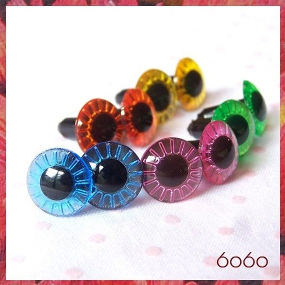 12 mm Owl Cut Eyes 5 pairs mixed colors