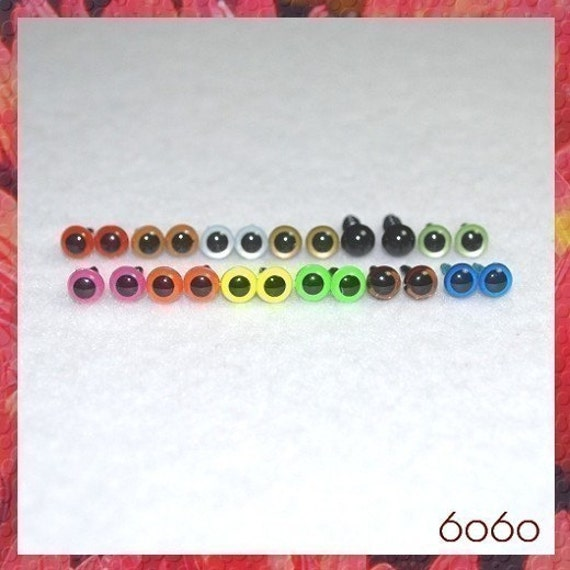 6 mm Mixed color animal amigurumi plastic craft safety eyes - 12 PAIRS Sampler (6P1)