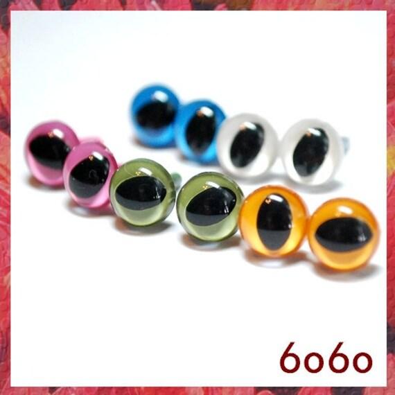 9mm Cat eyes Amigurumi eyes Plastic eyes Safety Eyes 5 PAIRS opaque ( 9C1 )