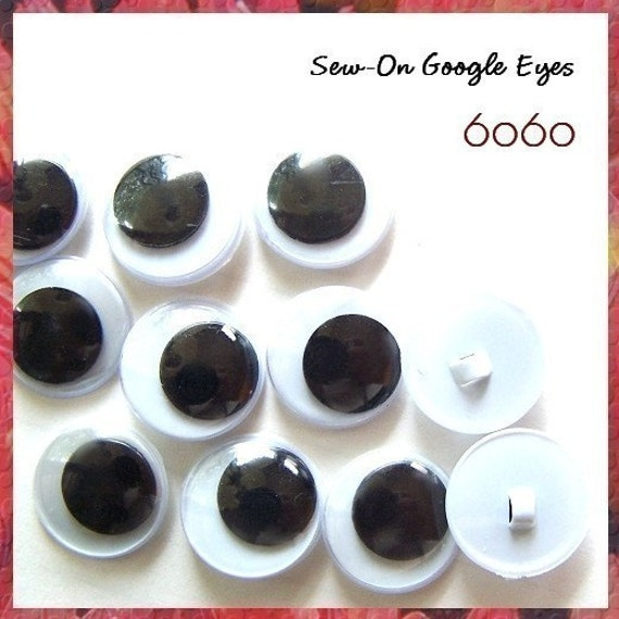 8 mm Sew On Google Eyes - 5 PAIRS