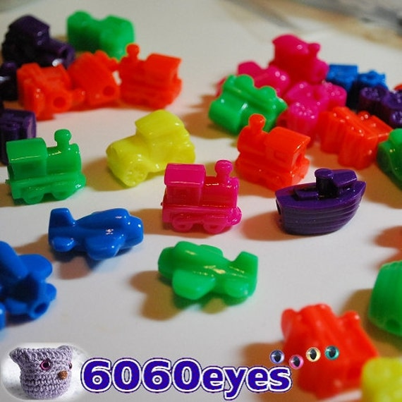25 mm Vehicle Beads Plane Car Train Boat Plastic Beads