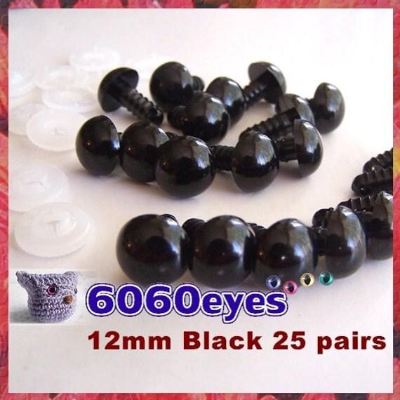 12 mm Safety Eyes Animal Eyes Plastic Eyes BLACK - 25 pairs (12B25)