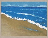Large Original Art Painting Abstract Seascape Contemporary Expressionist OCEAN BEACH Waves 24x30 Free US Shipping