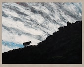 Large Original Art Painting Contemporary Landscape Expressionist Art Cow GOING HOME 24x30 Free US Shipping