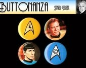 Star Trek Value Pack 4 Pinback Button Set One and a half inches plus BONUS pin