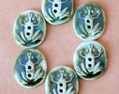 6 Handmade Ceramic Buttons - Frog Buttons in Deep Moss Green