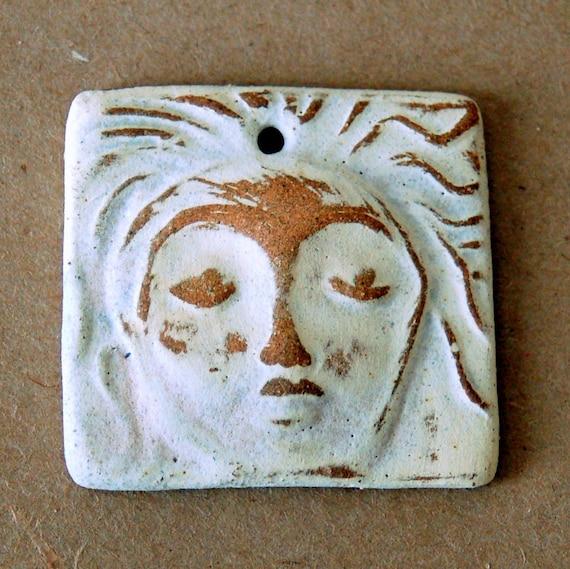 Ceramic Mini Tile Pendant Stoneware Spirit Goddess - Meditation Goddess